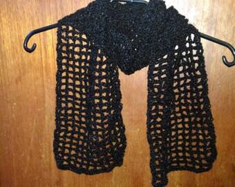 Black openwork crochet stitch scarf