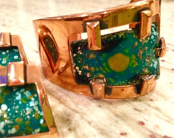 Vintage Matisse Chunky Copper Enamel Trapezoid Cuff Bracelet and Earring Set