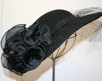 Flirty black hat; vintage veiled hat; Sunday-go-to-Meetin' chapeau; Sonni of San Francisco hat; USA wool felt hat