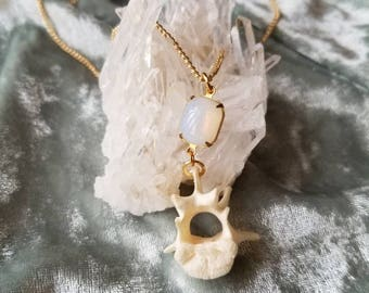 Opal with Raccoon Vertebra Necklace
