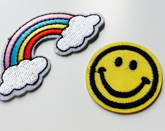 Patches | Patch | Set | Hipster | Trendy | Emo | DIY | Fashion | Sassy | Cute | Rainbow | Smile | Smiley Face | Retro