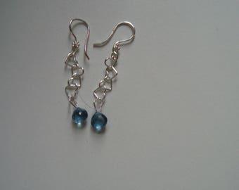 Blue Topas 7,5 x 8mm fine facet briolette with earrings sterling silver