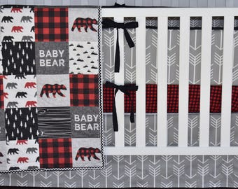 Gray Arrows  Crib Bedding, Lumberjack bedding, woodland nursery, red buffalo plaid, red and black , quilt, bumpers, deer, skirt