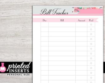 Printed Planner Inserts - Bill Tracker - Filofax Personal - Kikki K Medium - 3.75 x 6.75 in. - Design: Flirty Girl