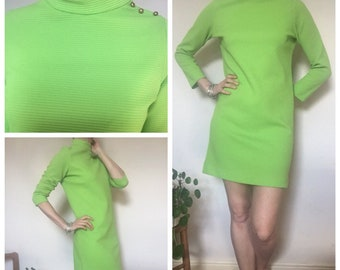 60s vintage bright lime green ribbed mod shift wiggle dress uk 10