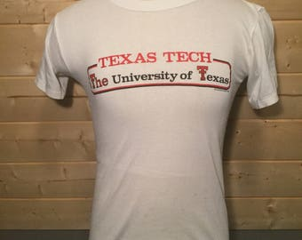 Vintage 1984 Texas Tech University Red Raiders Thin and Soft 50/50  T-Shirt