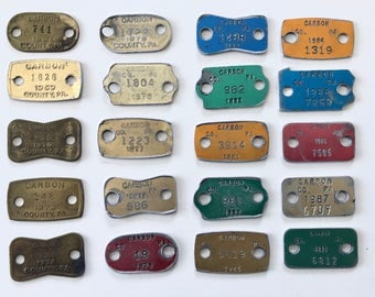 Vintage Dog Licenses, Brass, Aluminum, 20 Dog License Tags Collection, 1967 to 1988, Carbon County, PA, Instant Collection