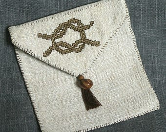 Sailor knot embroidered pouch