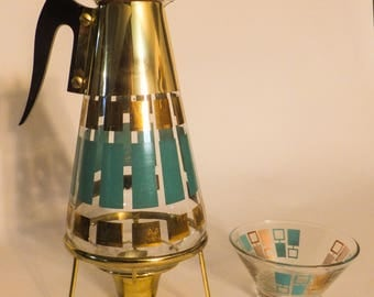 Mid Century Modern signed Fred Press Coffee Decanter and warmer