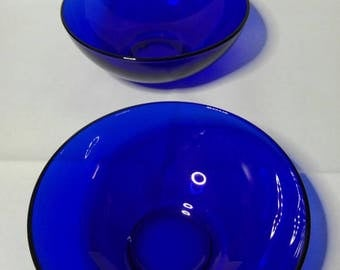 Pair of blue glass bowls