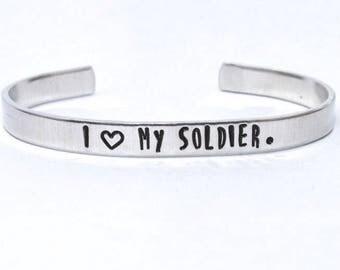 Personalized custom Bracelet, My Soldier, Hand Stamped, Aluminum bracelet, Aluminum Cuff Bracelet, Hand Stamped Jewelry