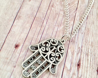 Hamsa necklace, Hamsa Necklace, Silver Hamsa Charm Necklace, Hamsa Hand Charms, Hamsa Jewelry, filigree necklace, Hand of God, Fatima