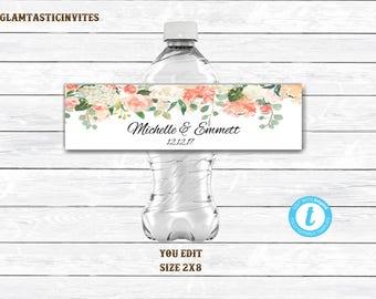 Water Bottle Template, Wedding Water Bottle Label Template, Template, Printable Water Bottle Label, Rustic, Floral, Flower, Floral Label