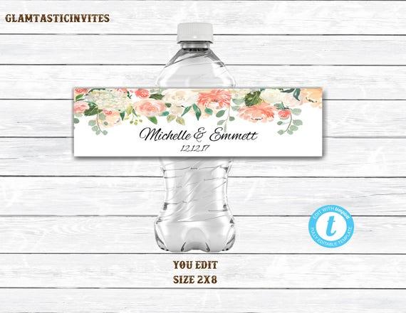 Water bottle template wedding water bottle label template template il570xn maxwellsz