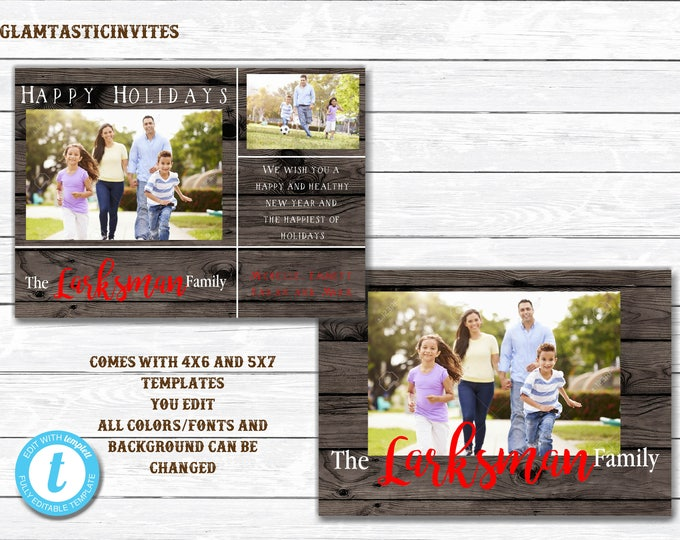 Christmas Card Template, You Edit, Family Photo Christmas Card, Christmas Photo Card, Happy Holidays, Warmest Wishes, Merry Christmas Card