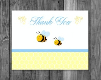 Baby Shower Thank You Card - Bumble Bee Thanks - Bees Baby Shower Thank You Card - Printable Blue & Yellow Baby Shower Thanks - Boy Shower