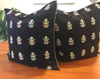 Hand woven black cushion cover from Chiapas / Mexican textile pillow case / woven decorative boho pillow cover / Bed cushion cover