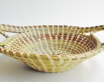 Sweetgrass  Double Handle Basket , Sweetgrass Basket, Gullah, African Basket, Woven Basket, Charleston SC
