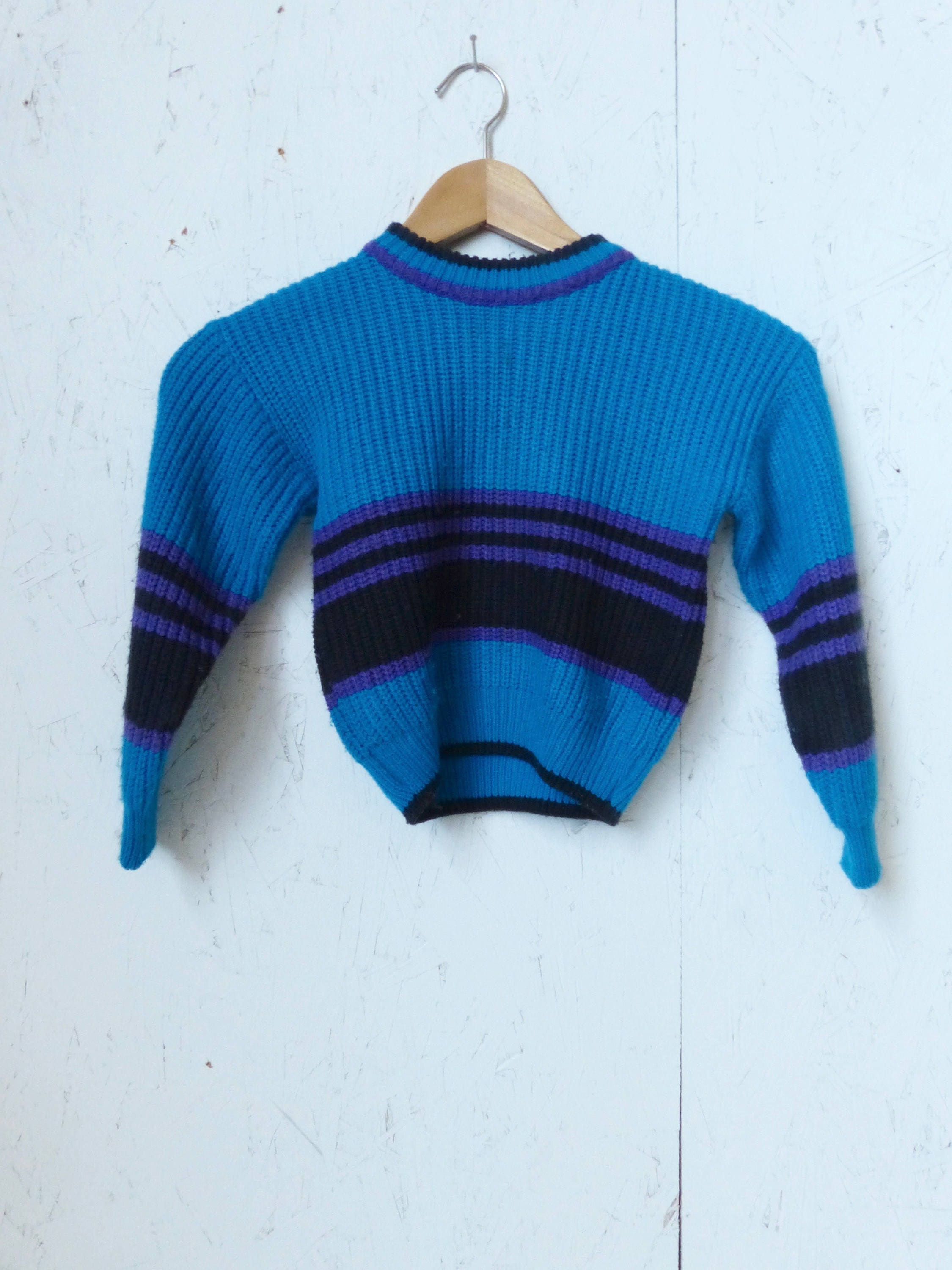 Vintage Child's Knit Stripe Blue and Purple Sweater