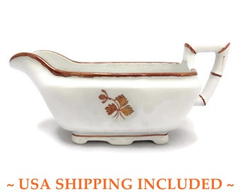 Antique Tea Leaf Ironstone Gravy Boat Alfred Meakin Bamboo                       Body Style