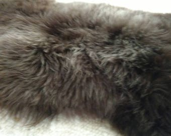 Real Herdwick Sheepskin rug-pelt-100% natural-brown/grey-UNDYED - SUPER SOFT -thick -big- soft tanned - ready for shipping - Made In Ireland