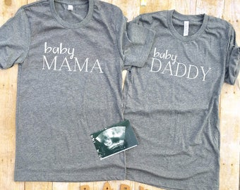 Baby Mama, Baby Daddy, Pregnancy Announcement shirts, Couples shirt, Baby Mama t-shirt, Mom to Be, Pregnancy Reveal, New Mom, new dad Shirt