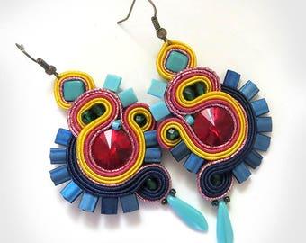 Soutache earrings Beach jewelry Dangle earrings Long earrings rainbow jewelry yellow Sun jewelry Seed bead earrings Colorful earrings