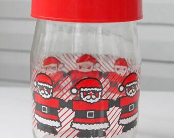 Vintage Christmas Santa Carlton Glass Jar with Red Lid-1 Liter-Santa Cookie Candy Jar
