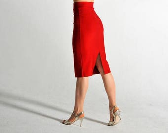 ROXANA red Tango skirt with two slits - size S only