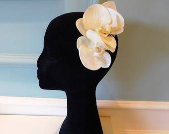 "Cream Orchid hair flowers, bridal hair flowers, "" Real touch"" orchid fascinator/hair comb"