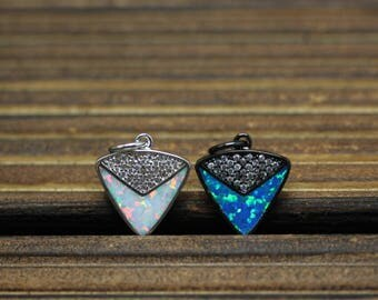 Synthetic Opal with CZ Cubic Zirconia Pendant,Plated Copper Triangle Shape Charms Jewelry,14x16mm
