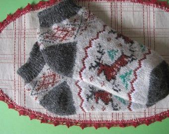 EU-38-40/ US- 8-9 Nordic Beautiful knitted Angora wool socks for women. Scandinavian knit pattern Deer. Soft, warm and very comfortable