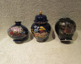 Japanese Blue Colbalt 3 Ginger Jars all with marks or stickers Excellent Collectibles