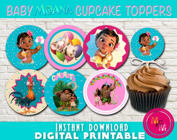 Baby Moana Birthday Cupcake Toppers Printable Instant