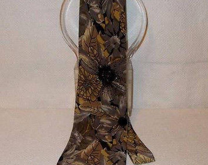 Vintage 90s Mens Bill Blass Silk Blend Black Brown Gray Floral Leaf Men's Fashion Classic Neck Tie Necktie