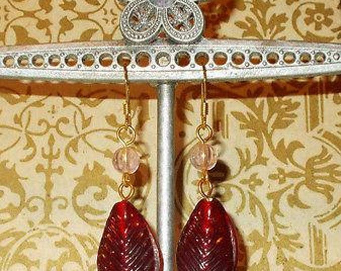 Vintage 90s Boho Hippie Chic Old Red Feather Glass Bead Handmade Drop Dangle Stainless Steel Earrings