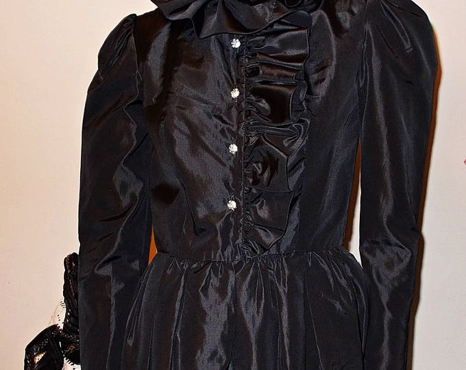 Vintage 60s Jack Bryan Black Taffeta Cocktail Evening Special Occasion Womens Rhinestone Buttons Long Sleeve Below The Knee Dress