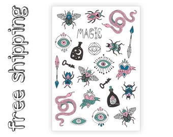 "Temporary tattoos set ""Sacred"" with magic symbols and totems: snake, arrow, bug, eye, moon, stars, beetle. Halloween party bag supply. TA058"