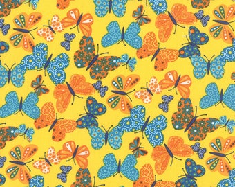 Moda ON THE WING Quilt Fabric 1/2 Yard By Abi Hall - Sunshine 35262 14