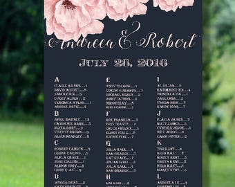 Printable Wedding Seating Chart, Alphabetical Wedding Seating Chart, Wedding Seating Chart Printable, Floral Wedding Seating Chart Printable