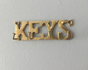 """Small """"Keys"""" Brass Key Hook"""