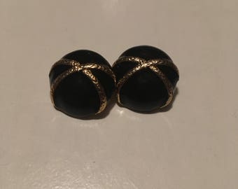 Black Round Earrings with Gold Accents