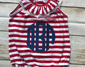 Monogrammed Baby Bubble, Red and White Bubble, 4th of July Bubble, Fourth of July Romper, Ruffle Bubble, Bubble Romper, Baby Girl