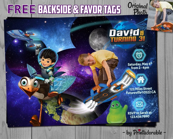 Miles from Tomorrowland Invitation - Miles Birthday Invite - Space Printables, Fully Customizable - Free Backside and Favor Tags