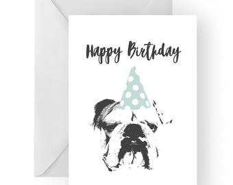 English bulldog blank birthday card- Bulldog greeting card, dog card, English Bulldog birthday card, cute dog birthday card, Birthday card