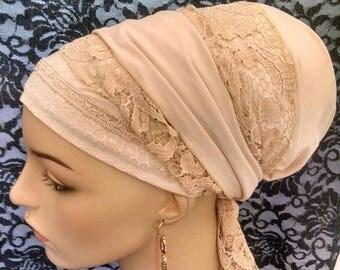 Elegance in neutrals, Sinar tichels, tichels, apron tichels, head scarves, chemo scarves, mitpachat, head wraps
