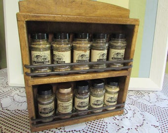 VINTAGE spice Cabinet wood VTG 2 floors with iron rod mid-century 10 bottles Spices Rack Wooden VINTAGE Spice rack