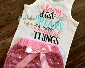 FREE SHIPPING**Fairy Dust Dreams And Many Magical Things,Girls Vacation Shirt,Castle,Princess Shirt,Tank Top,Family Vacation Shirts,All Size