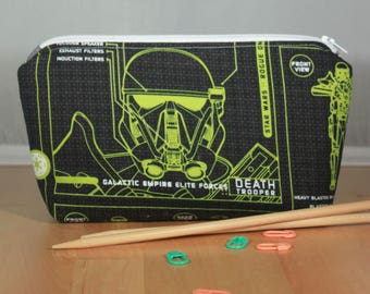 Star Wars Rogue One Death Trooper Small Zip Top Notions Pouch, Zipper Pouch, Knitting or Crocheting Accessories Bag, Cosmetics Case