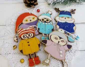 Set  5 Owls Wooden Christmas ornament Christmas gift for kids Owls décor Christmas decorations Winter tree ornament New year Merry Christmas